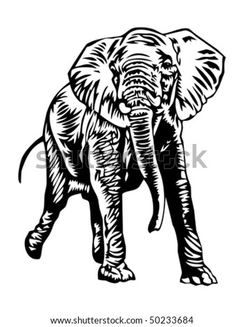 charging elephant - stock vector