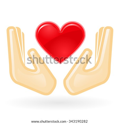 Charity and care concept - hands with heart - stock vector