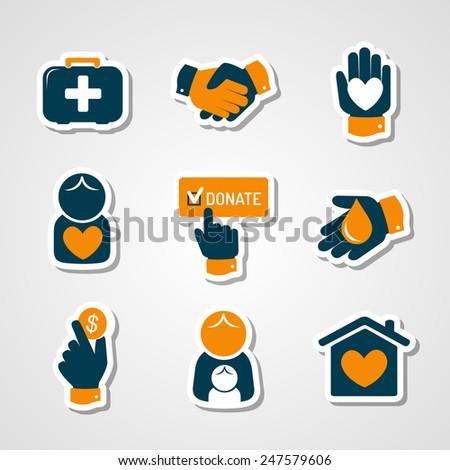 Charity and donation paper cut icons - stock vector