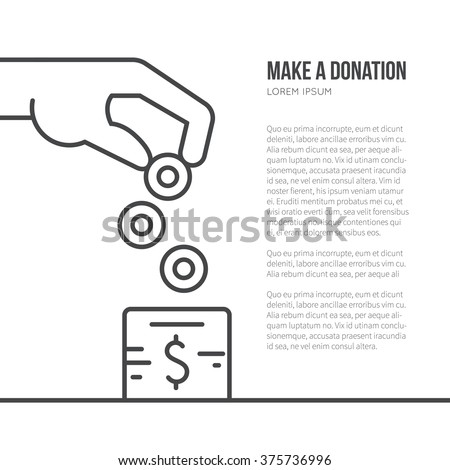 Charity box and helping hand - fundraising or donation concept with place for your text. Simple and modern vector line style illustration. - stock vector