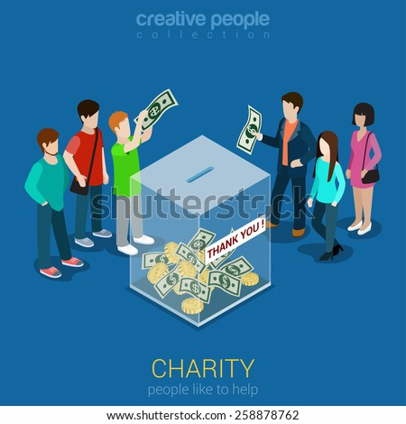 Charity donation funding corporate social responsibility flat 3d isometric web infographic template vector. Group of donors put money transparent box thank you banner. Creative people collection. - stock vector