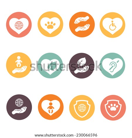 Charity donation social services and  volunteer white round buttons set isolated vector illustration - stock vector