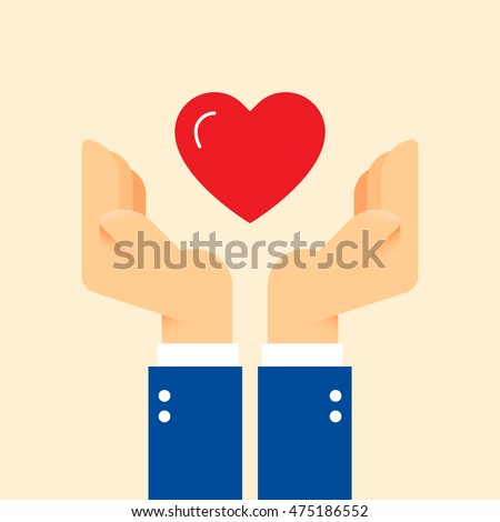 Charity helping hands with red heart. Share love illustration. Clean and simple graphic flat vector concept.Color symbol icon template for donation organization, volunteer center and fundraising event