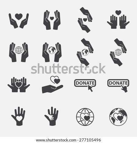 Charity icon set.vector. - stock vector
