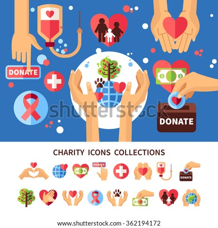 Charity infographic set with donations care and love symbols flat vector illustration  - stock vector