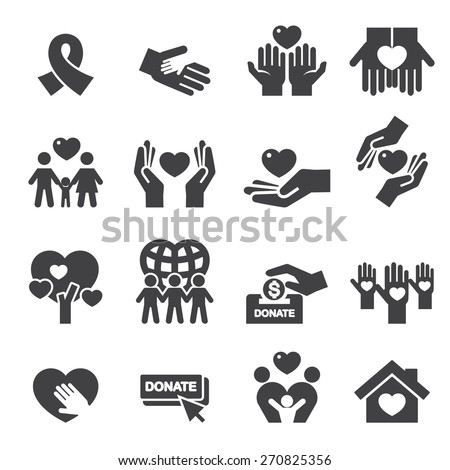 Charity Silhouette icons - stock vector