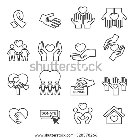 Charity Silhouette icons.line vector . - stock vector