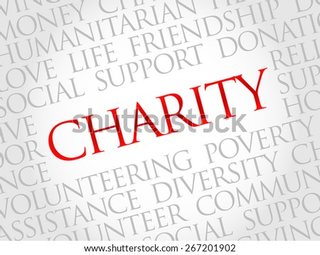 Charity word cloud concept - stock vector