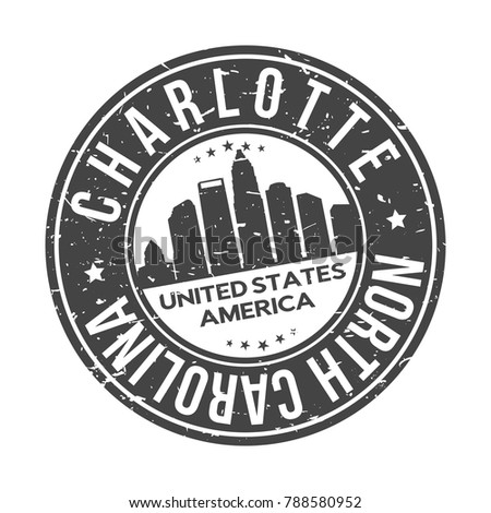 Charlotte North Carolina Usa Stamp Logo Stock Vector Royalty Free