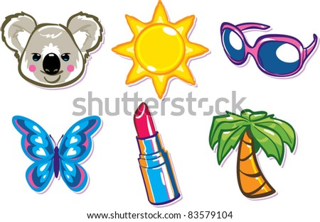 Charm illustrations, from the teen girl items series! - stock vector