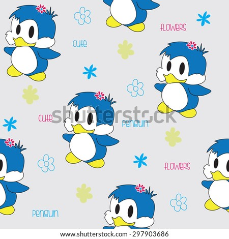 Charming blue penguins with colorful flowers, seamless pattern vector illustration - stock vector