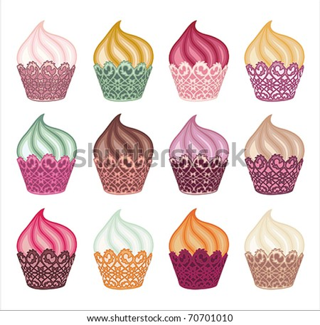 Charming Cupcakes Set - stock vector