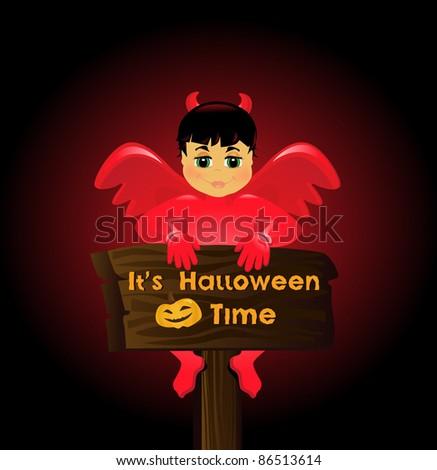 charming halloween devil - stock vector