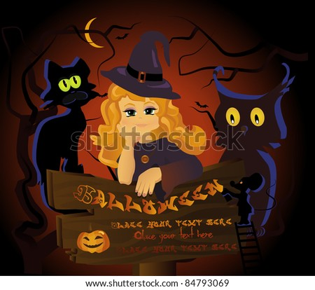 charming halloween witch with a company - stock vector