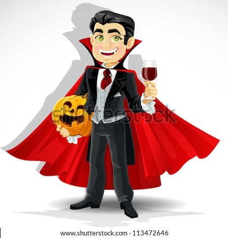 Charming predatory vampire with Halloween pumpkin and a glass of blood - stock vector