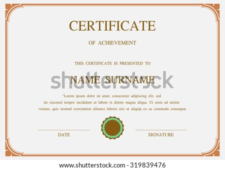Charming Vector certificate template - stock vector