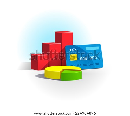 Chart and credit card on a white background - stock vector