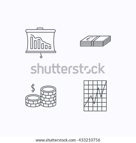 Chart, cash money and statistics icons. Coins linear sign. Flat linear icons on white background. Vector - stock vector