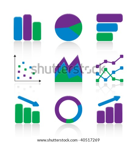 Chart icons - stock vector