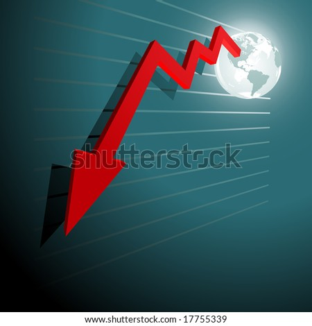 chart moving down from Usa - stock vector
