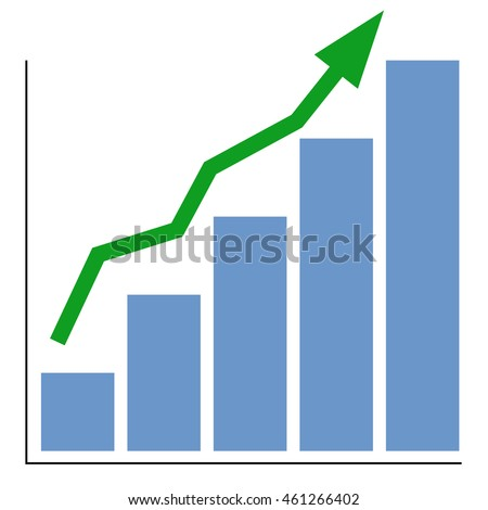 chart of increase with a green arrow