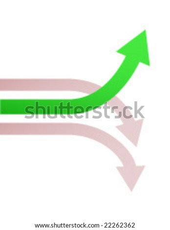 chart of winning stock going up in a market of losers - stock vector