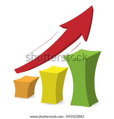 Chart with arrow. Colorful cartoon illustration on a white background  - stock vector