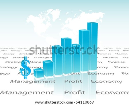 Chart with map - stock vector