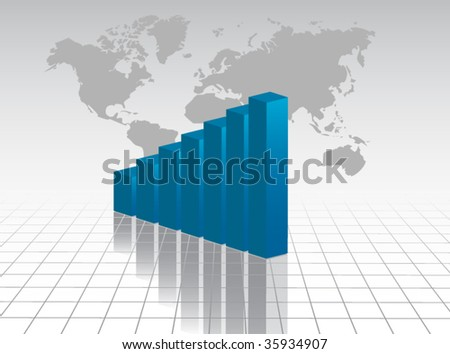 Chart with planet - stock vector