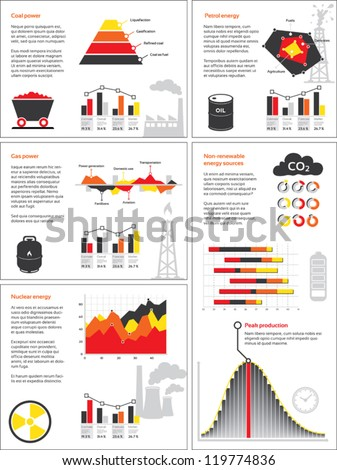 Charts and graphics for non-renewable energy sources - stock vector