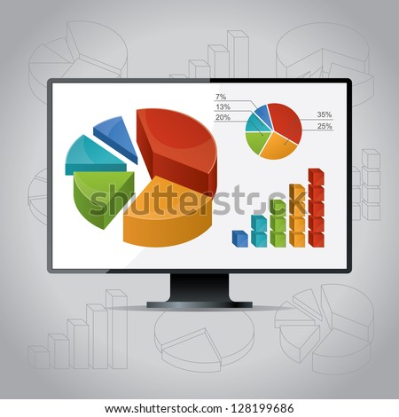 Charts On Monitor - stock vector
