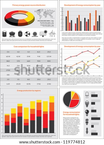 Charts, statistics and data for energy consumption - stock vector