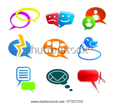 Chat and communication icons and symbols set isolated on white background, such  a logo. Jpeg version also available in gallery - stock vector