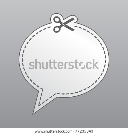 Chat bubble icon cut from sheet of paper - stock vector