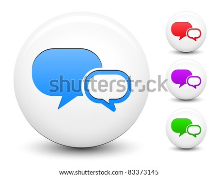 Chat Bubble Icon on Round White Button Collection Original Illustration - stock vector