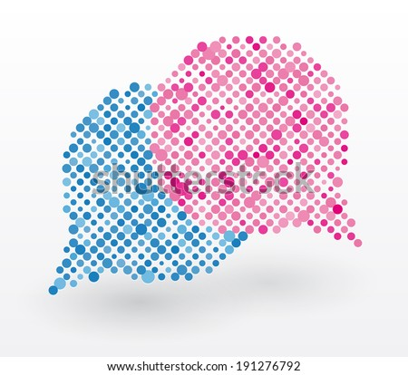 chat bubbles in blue and pink colors - stock vector