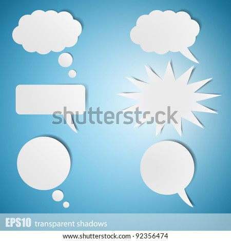 Chat bubbles - paper cut design - stock vector