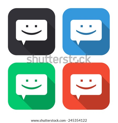 chat icon - colored illustration (gray, blue, green, red) with long shadow - stock vector
