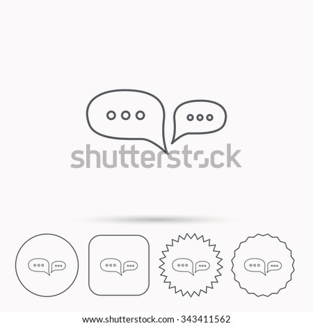Chat icon. Comment message sign. Dialog speech bubble symbol. Linear circle, square and star buttons with icons. - stock vector