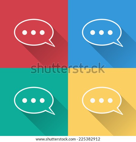 chat icon , flat design on 4 color background - stock vector