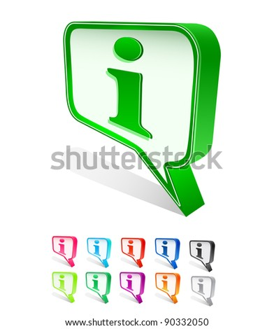 chat icon set with info sign. Vector illustration isolated on white background - stock vector