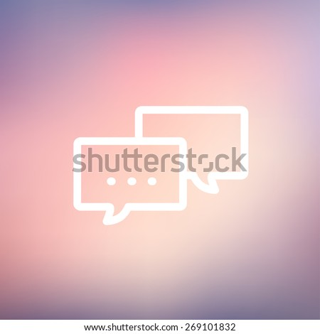 Chat icon thin line for web and mobile, modern minimalistic flat design. Vector white icon on gradient  mesh background. - stock vector