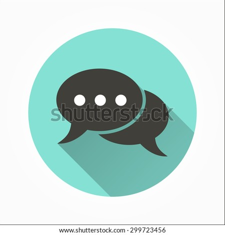 Chat   - icon with long shadow, flat design. Vector illustration. - stock vector