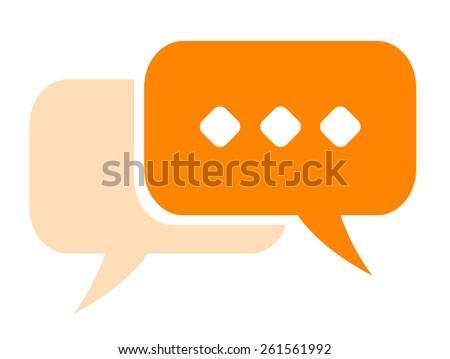 Chat icon with shadow on a white background. Modern bright colorful vector rectangular speech bubble icon. Orange bubble with shadow. - stock vector