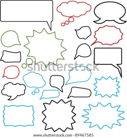chat icons set, vector illustrations - stock vector
