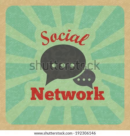 Chat message speech talk text bubble communication social network retro poster vector illustration. - stock vector