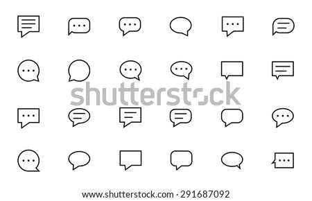Chat Messages Line Vector Icons 1 - stock vector