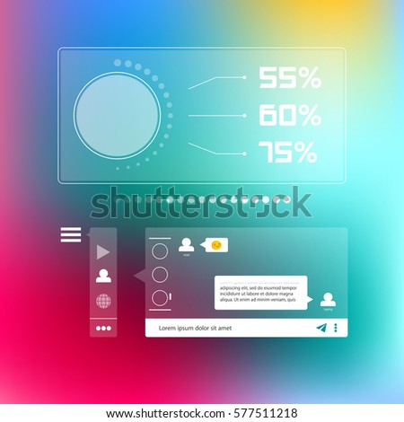 chat messenger social infographic template flat stock vector