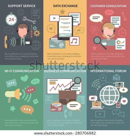 Chat mini poster set with support service data exchange customer consultation isolated vector illustration - stock vector