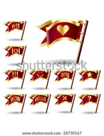 Chat or instant message icons on royal vector flag buttons - good for web, print, advertising, and promotion - stock vector